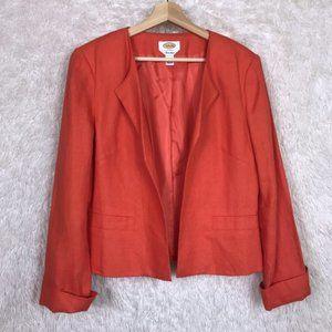Talbots Irish Linen Jacket Orange Open Front